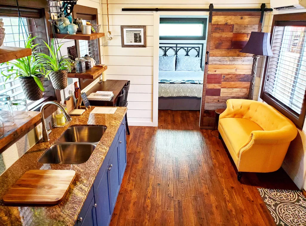 Inside of tiny house used as airbnb