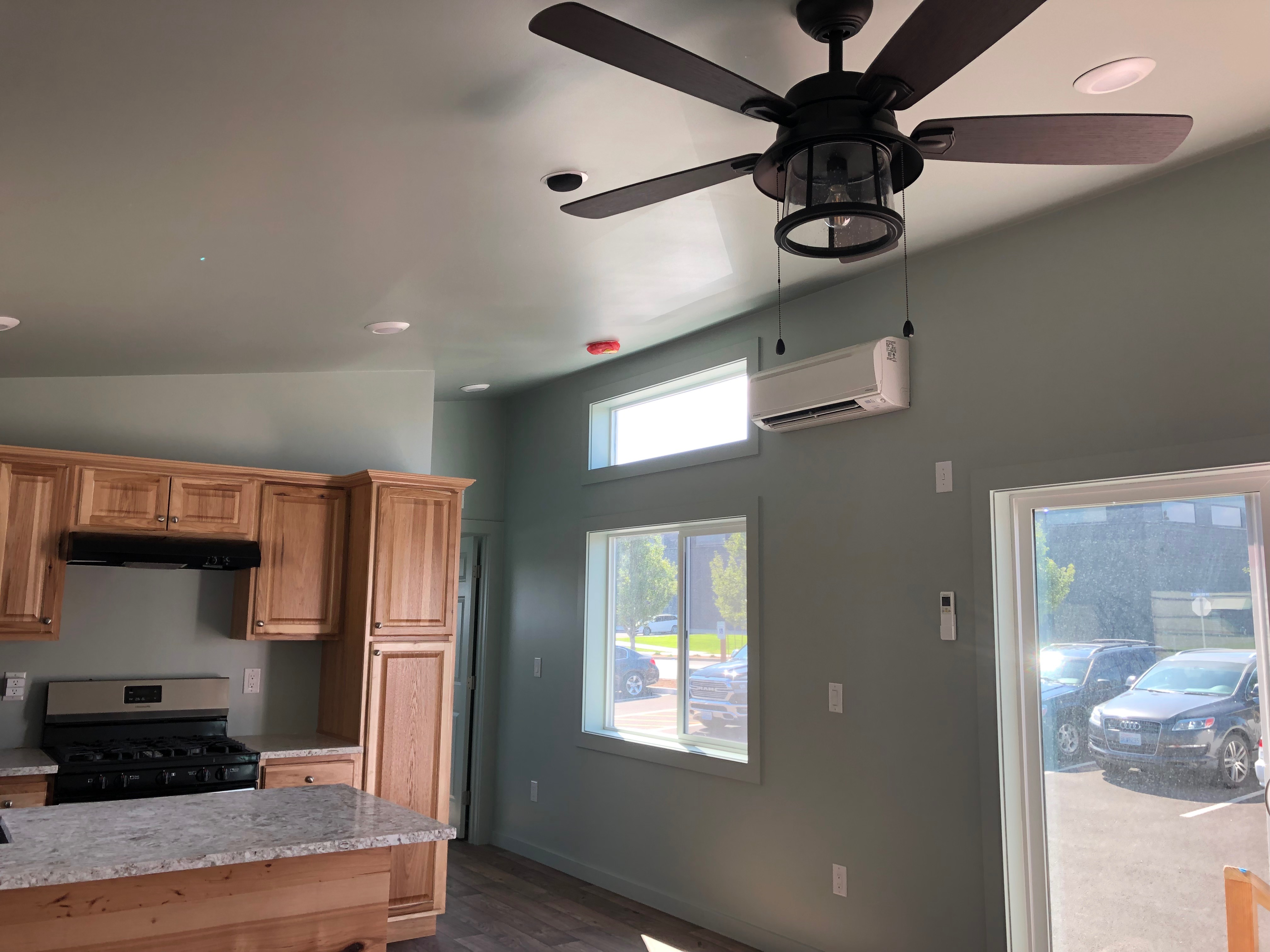 slanted ceiling in extra large tiny home