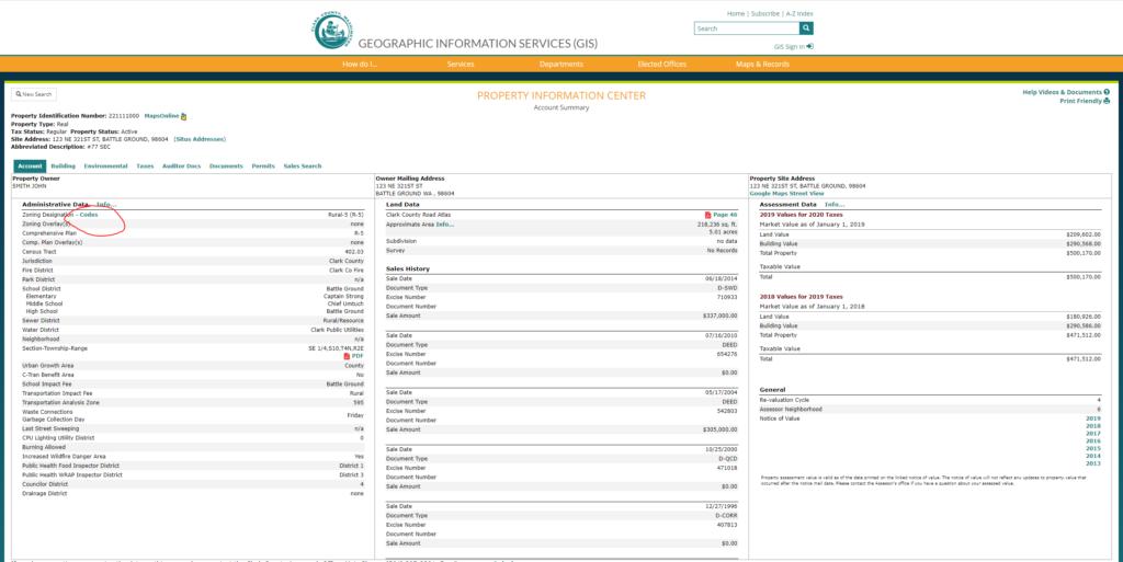 Clark County property lookup website