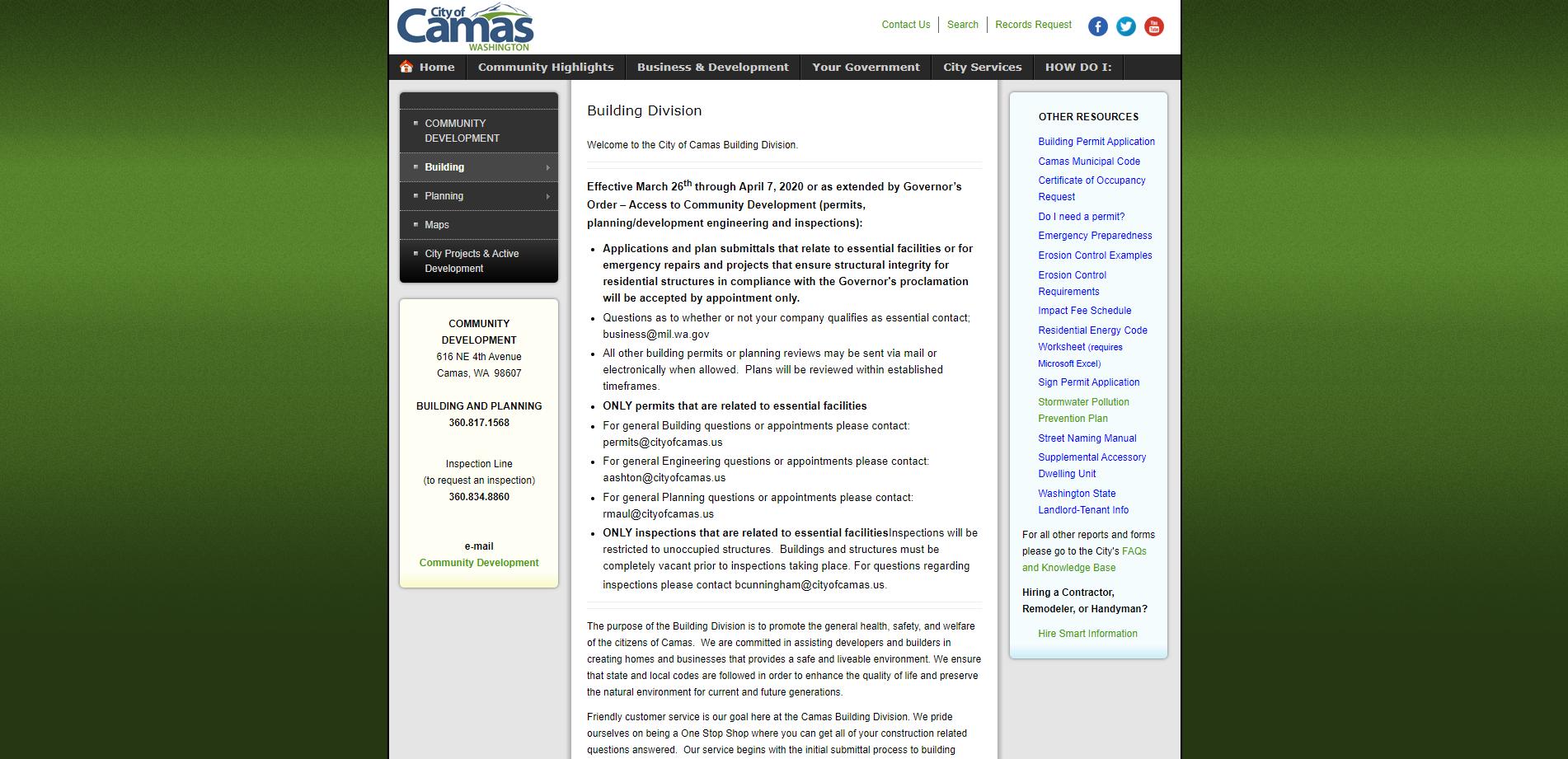Camas Building Department Website