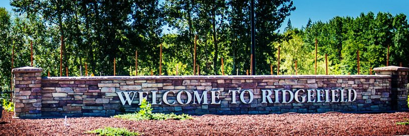 Sign welcoming visitors to the City of Ridgefield