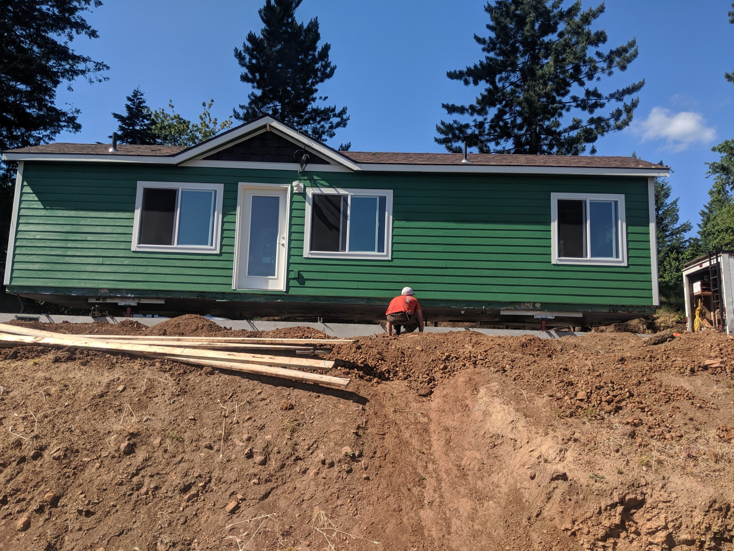 installing tiny home in woodland