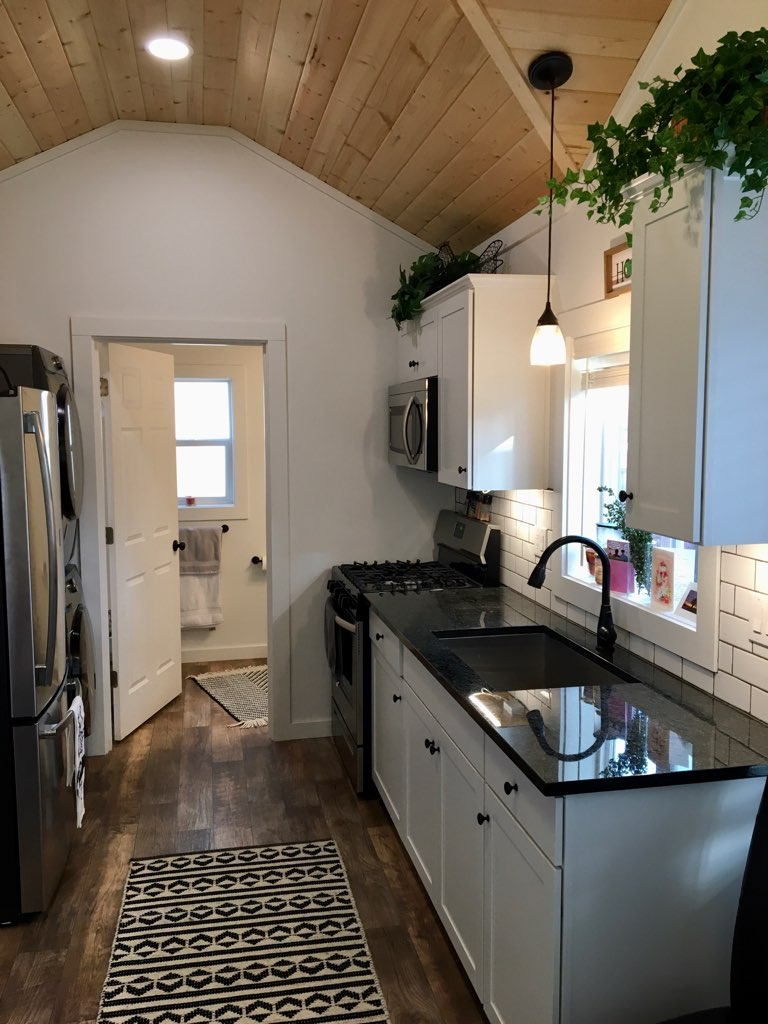 rental tiny home kitchen in tigard oregon